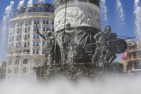 alexander the great: SKOPJE, MACEDONIA - APRIL 14, 2016:Statue of Alexander the Great on main square in downtown of Skopje, fountain detail.