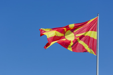 macedonian: macedonian flag waving in wind.