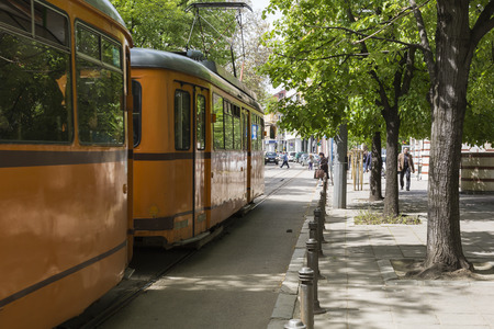 sofia: SOFIA, BULGARIA - APRIL 14, 2016 : Tranway and street scene of downtown city of Sofia, the capital of Bulgaria. In Sofia. Editorial