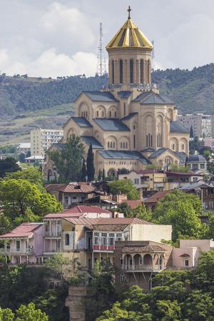 tbilisi: TBILISI, GEORGIA - MAY 07, 2016: View of the Holy Trinity Cathedral Tsminda Sameba in Tbilisi, Georgia.