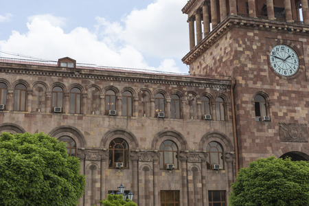central government: YEREVAN, ARMENIA - MAY 2, 2016: The Government House. Holds the main offices of the Government of Armenia. Located on Republic Square , the large central town square in Yerevan, Armenia
