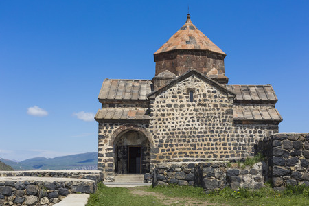 9th: The 9th century Armenian monastery of Sevanavank at lake Sevan. Stock Photo