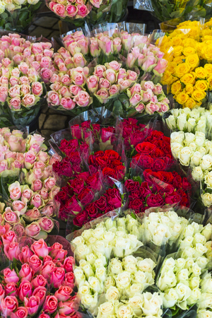 flower market: roses offered at the night flower market Stock Photo