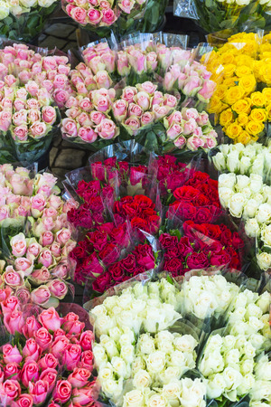 offered: roses offered at the night flower market Stock Photo