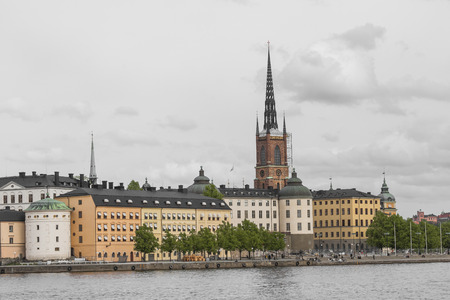 norrmalm: STOCKHOLM - SWEDEN - 21 MAY, 2016.Scenic panorama of the Old Town (Gamla Stan) pier architecture in Stockholm, Sweden