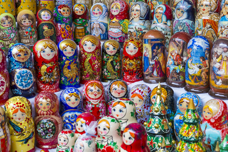matrioshka: Colorful Russian nesting dolls matreshka at the market. Matrioshka Nesting dolls are the most popular souvenirs from Russia.