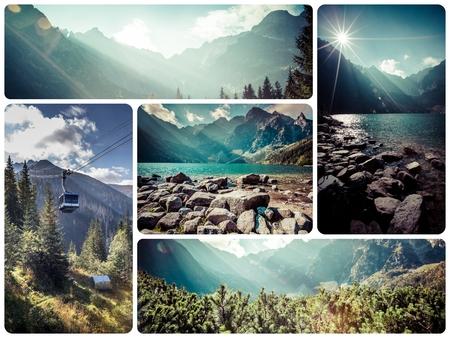 morskie: Collage of Tatra mountains (Poland) images - travel background (my photos) Stock Photo