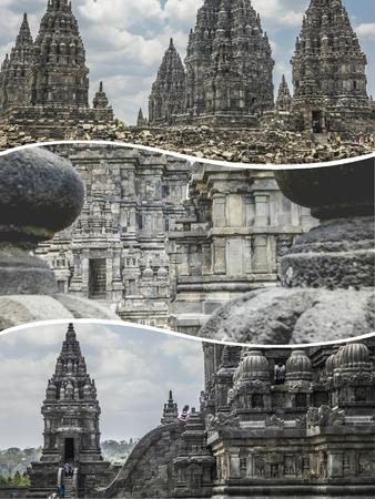Collage of Prambanan  ( Indonesia ) images - travel background (my photos) Publikacyjne