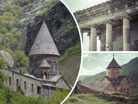 Collage of Monasteries ( Armenia ) images - travel background (my photos)
