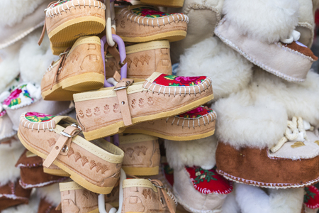moccasin: Traditional polish leather mountain boots for children called kierpce