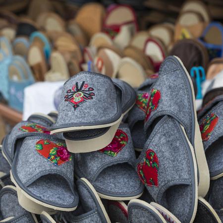 zakopane: Traditional polish leather slipper on market in Zakopane, Poland.