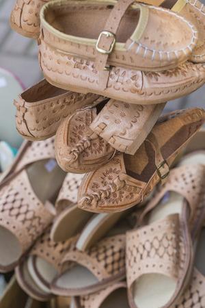 memorabilia: Traditional polish leather mountain boots for children called kierpce