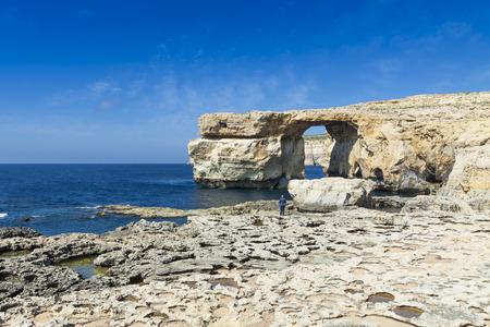 azure: Azure Window, famous stone arch on Gozo island, Malta