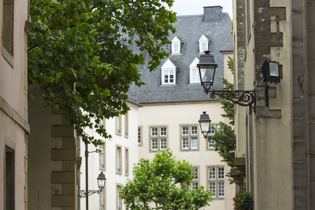 luxembourg: LUXEMBOURG CITY - LUXEMBOURG - JULY 01, 2016: Typical street in Luxembourg. Luxembourg city is the capital of the Grand Duchy of Luxembourg