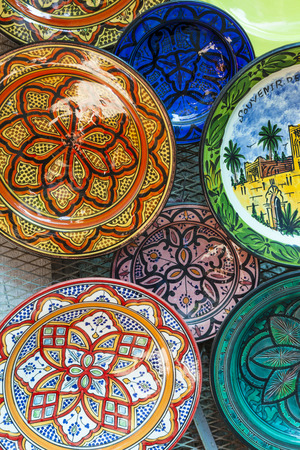 fes: Selection of traditional ceramics on Moroccan market (souk) in Fes, Morocco