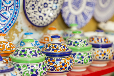 souk: Selection of traditional ceramics on Moroccan market (souk) in Fes, Morocco