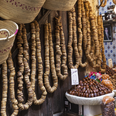 souk: Nuts and dried fruit for sale in the souk of Fes, Morocco