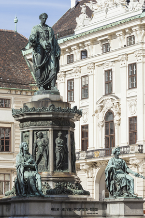 hofburg: VIENNA, AUSTRIA, E.U. - JUNE 05, 2016: Monument to Emperor Franz I of Austria (Kaiser Franz Denkmal by Pompeo Marchesi, 1842 - 1846) in the Innerer Burghof in the Hofburg imperial palace. Editorial