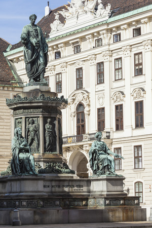 franz: VIENNA, AUSTRIA, E.U. - JUNE 05, 2016: Monument to Emperor Franz I of Austria (Kaiser Franz Denkmal by Pompeo Marchesi, 1842 - 1846) in the Innerer Burghof in the Hofburg imperial palace. Editorial