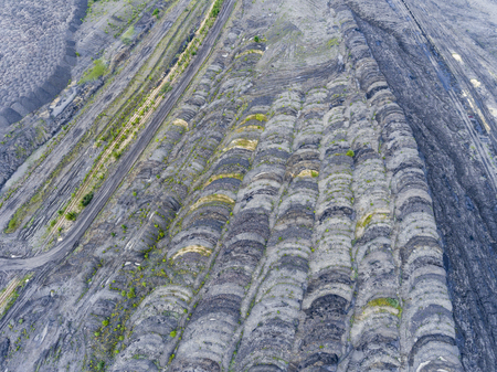 economic activity: Coal mine in south of Poland. Destroyed land. View from above.