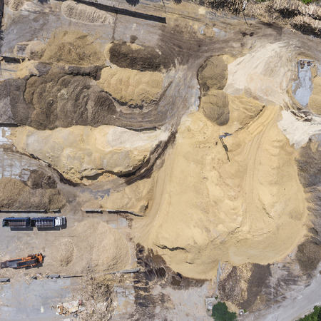unearth: Aerial view over the sandpit. Industrial place in Poland.