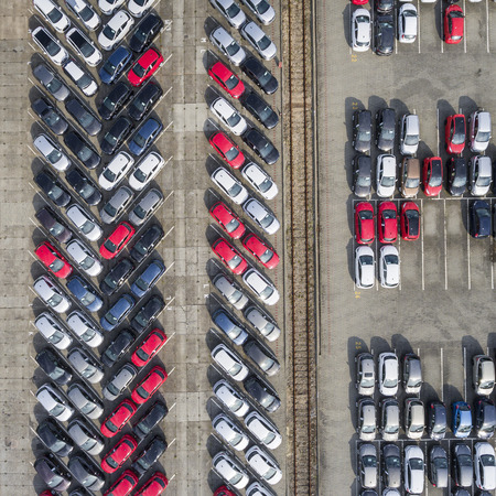 new car lot: Aerial view lot of vehicles on parking for new car.