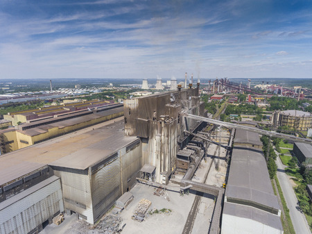 smokestacks: Steel factory with smokestacks at suny day.Metallurgical plant. View from above.