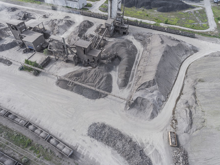 quarries: Aerial view of open pit sand quarries.  View from above. Stock Photo