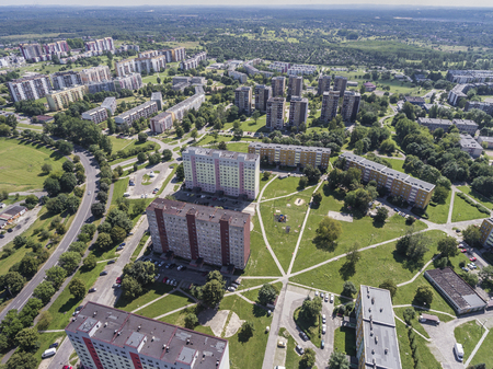 communistic: Typical socialist block of flats in Poland. East Europe. View from above. Stock Photo