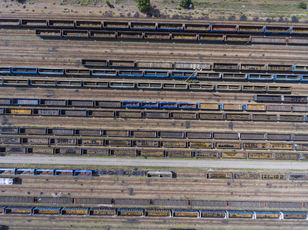 depot: Depot with many railways at day in city at sunny day. View from above.