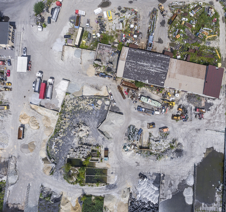 unearth: Aerial view over industrial place. Stock Photo
