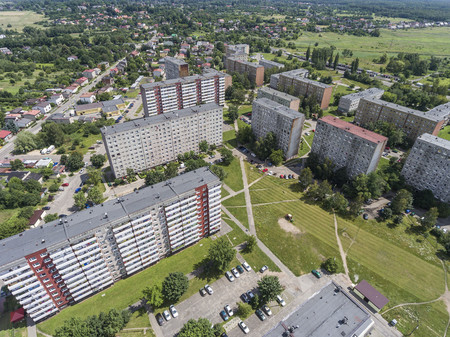 socialist: Typical socialist block of flats in Poland. East Europe. View from above. Stock Photo