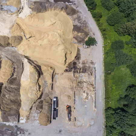 sandpit: Aerial view over the sandpit. Industrial place in Poland.