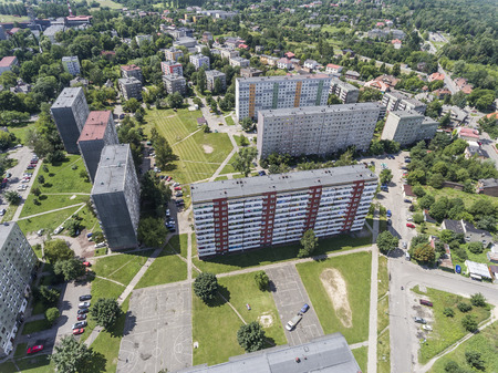 Typical socialist block of flats in Poland. East Europe. View from above. Stock Photo