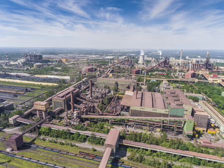 suny: Steel factory with smokestacks at suny day.Metallurgical plant. View from above.