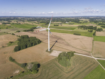 windy energy: Wind turbines in Suwalki. Poland. View from above. Summer time.