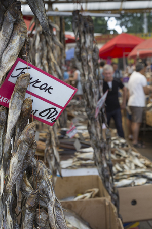 odessa: Dried salted fish at a farmers market in Odessa, Ukraine.