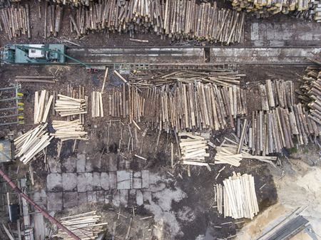 lumbering: Sawmill. Felled trees, logs stacked in a pile. View from above. Industrial background.