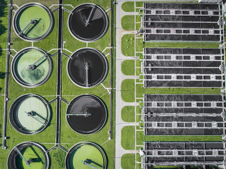 sewage treatment plant: Aerial view of sewage treatment plant in Poland.