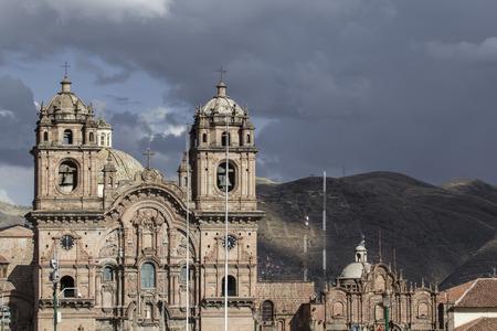 La Compania de Jesus church on Plaza de Armas square in Cuzco, Peru. Stock Photo