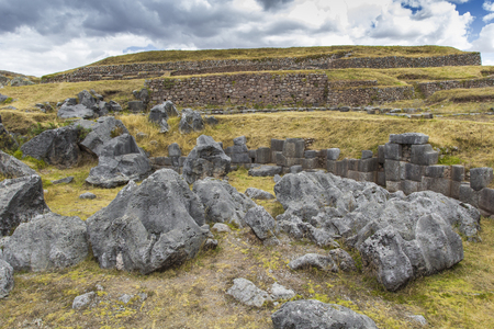 sacred valley of the incas: Stonework of the walls of Sacsayhuaman, in Cusco, Peru Stock Photo