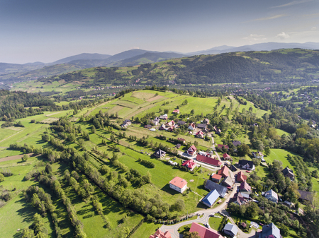 Mountain landcsape at summer time in south of Poland. View from above. Stock Photo