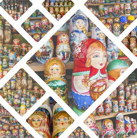 matroshka: Collage of Nesting dolls images - travel background (my photos)