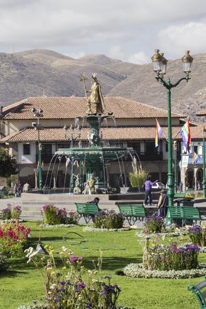 colonial church: CUZCO, PERU-MARCH 08, 2016: View of Plaza De Armas in Cusco, Peru Editorial