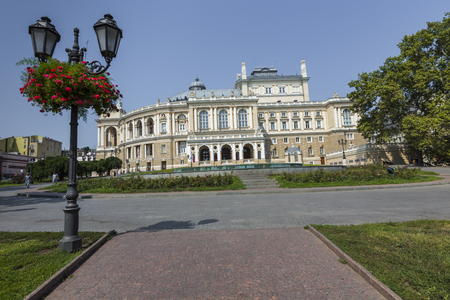 odessa: ODESSA, UKRAINE - AUGUST 02, 2016:The Odessa National Academic Theater of Opera and Ballet in Ukraine. Facade with fountain on the front on August 02 in Odessa.