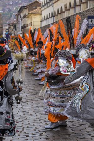 cusco: CUSCO - PERU - JUNE 06, 2016 : Peruvian dancers at the parade in Cusco. People in traditional clothes.