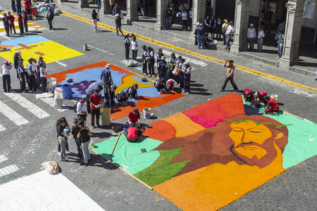 AREQUIPA, PERU - MAY 06, 2016: Corpus Christi on Plaza de Armas square in Arequipa, Peru Editorial