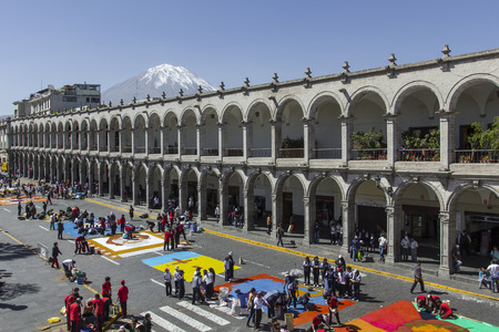 plaza de armas: AREQUIPA, PERU - MAY 06, 2016: Corpus Christi on Plaza de Armas square in Arequipa, Peru Editorial