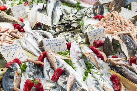 Variety of fish and seafood on local market greece. Stock Photo