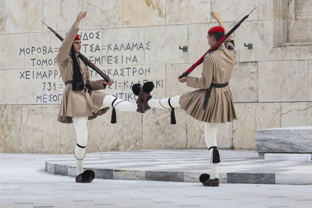 ATHENS, GREECE - SEPTEMBER 21: The Changing of the Guard ceremony takes place in front of the Greek Parliament Building on Spetember 21, 2016 in Athens, Greece.
